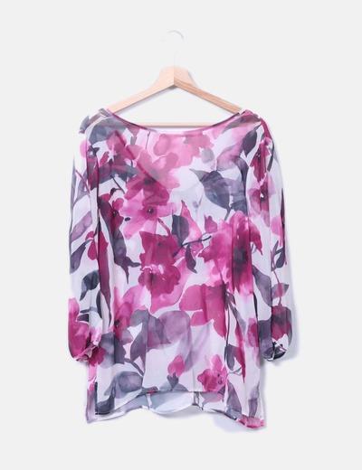 Blusa semitransparente floral NoName