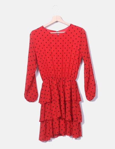 Vestido volantes rojo topos negros NoName