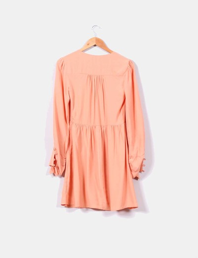 Vestido coral manga larga