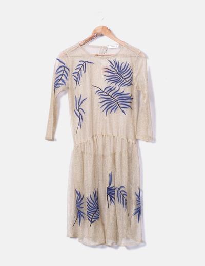 Vestido bordado semitransparente Mango
