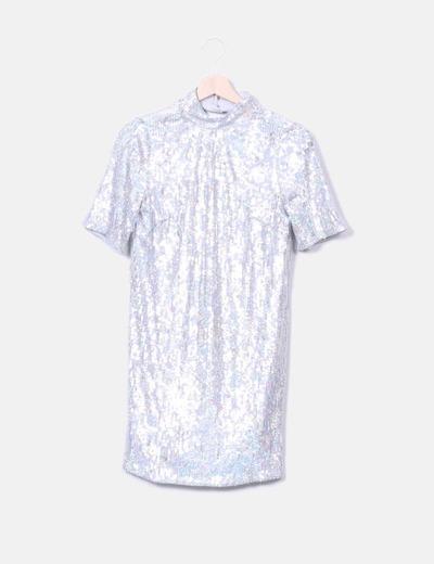 Vestido paillettes plata irisados