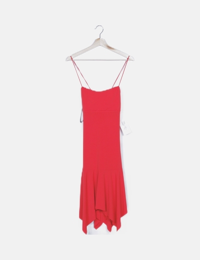 Vestido rojo lace up con volante