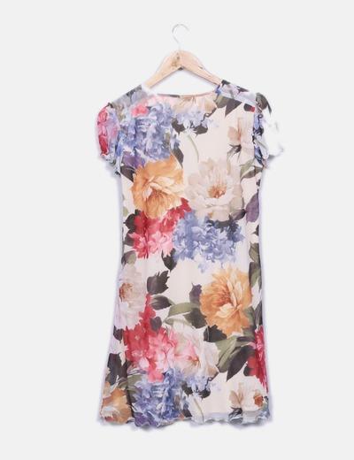 Vestido fluido floral con lazo
