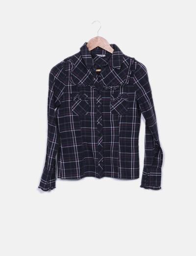 Camisa negra de cuadros Sublevel