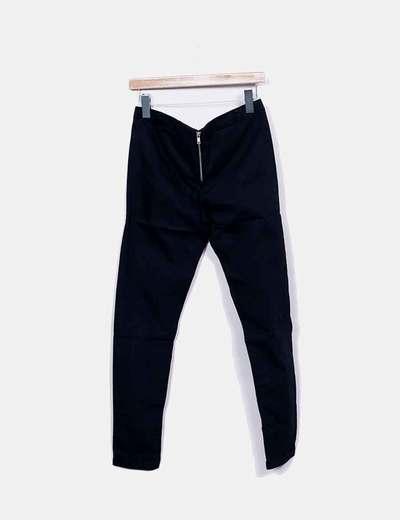 Pantalon denim negro con cremallera
