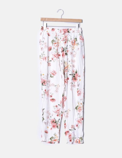 Pantalón baggy beige floral Zara