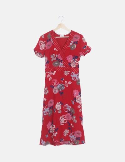 Vestido largo rojo floral