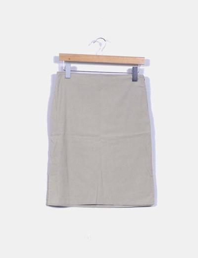Falda midi beige con abertura lateral Pimkie