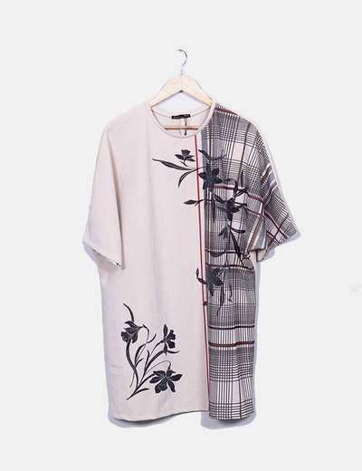 Vestido crudo print texturizado