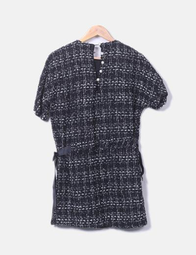 953380569 Zara Vestido negro tweed detalles perla (descuento 60%) - Micolet