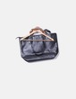 Shopper negro con asas marrones Stradivarius