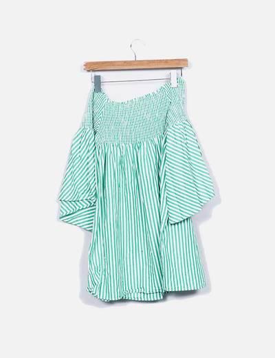 Vestido bardot rayas verdes