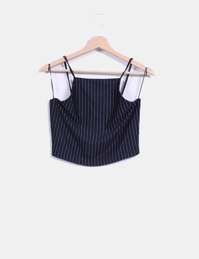Crop top negro a rayas Zara