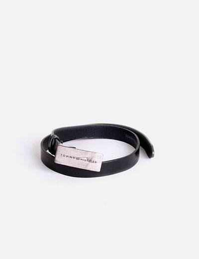 Cinturón negro de cuero hebilla Tommy H. Tommy Hilfiger