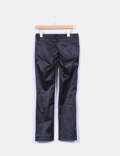 Pantalon negro satinado