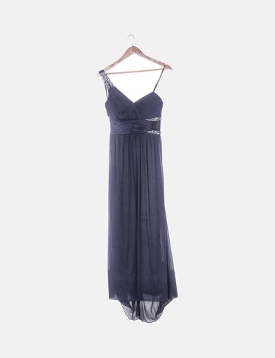 Vestido maxi gasa azul marino con strass