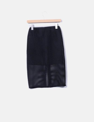 Falda negra con malla
