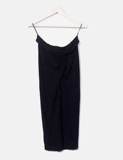 Vestido palabra de honor negro drapeado H&M