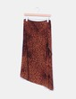 Falda midi marrón estampado animal print aterciopelada NoName