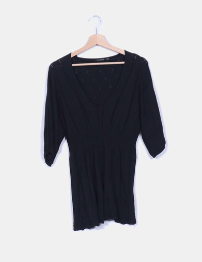 Blusón tricot negro troquelado Primark