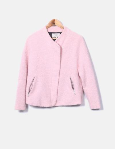 Chaquetón de rizo rosa