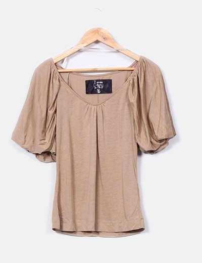 Zara Top à manches bouffantes camel (réduction 90%) - Micolet f18f1cea70bf