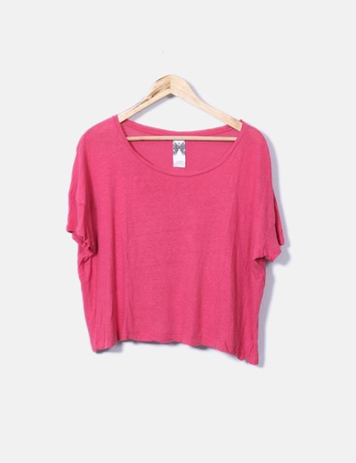 Camiseta fucsia manga corta Zara