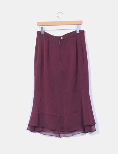 Falda midi color vino