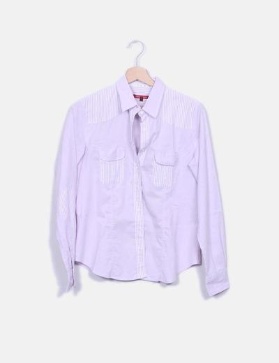 Camisa lila rayas combinadas Café con Leche