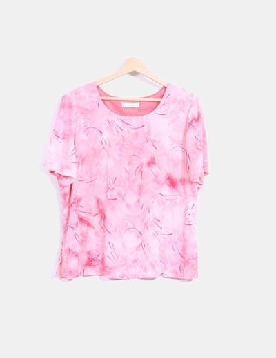Blusa manga corta rosa Mariña Riveiro