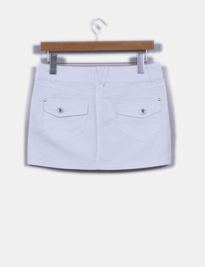 Mini falda denim blanca