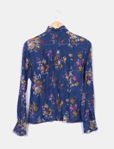 tienda oficial tienda oficial vende Blusa azul manga larga estampado floral
