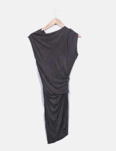 HELMUT LANG Vestido taupe assimétrico (desconto de 81%) - Micolet 2731dfe99a9d9