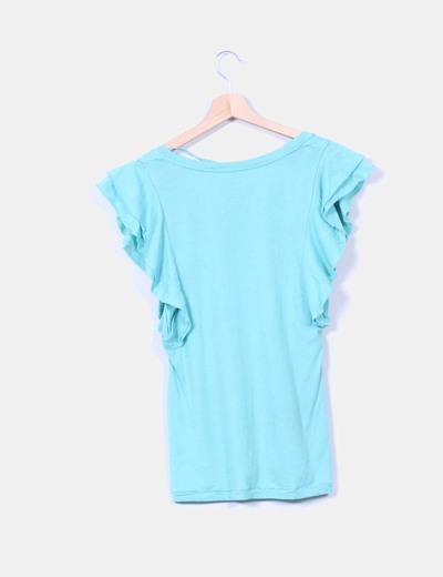 Camiseta turquesa mangas avolantadas