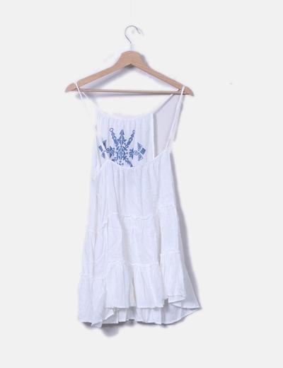 6a8853b509 Asos Vestido blanco bordado celeste (descuento 64%) - Micolet