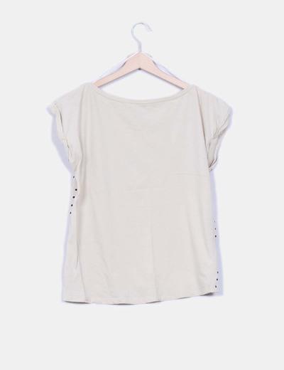Camiseta beige estampada