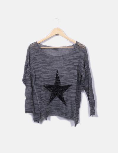 Jersey de punto a rayas print estrella NoName