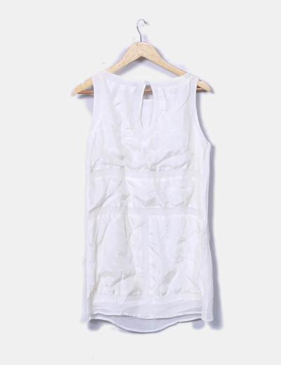 Vestido combinado blanco con strass