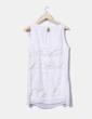 Vestido combinado blanco con strass Síntesis