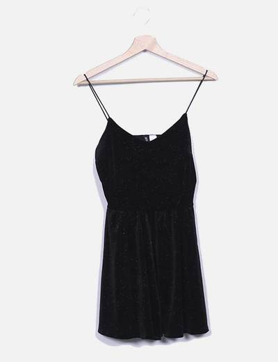 Vestido negro glitter con vuelo H&M