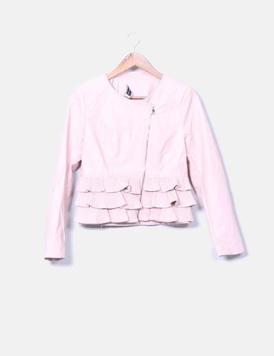 Veste rose en cuir synthétique motard avec volants Kotoï