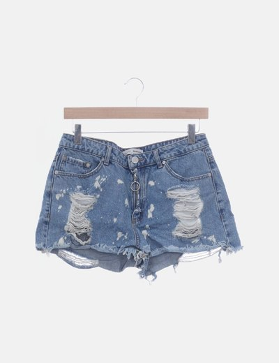 Short denim ripped detalles deslavados