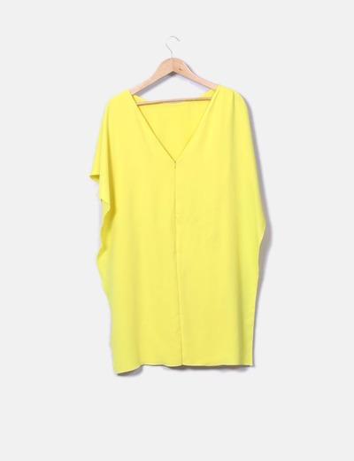 Vestido amarillo doble capa cintura fruncida