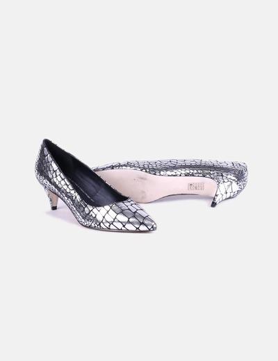 Zapatos de tacon plateados