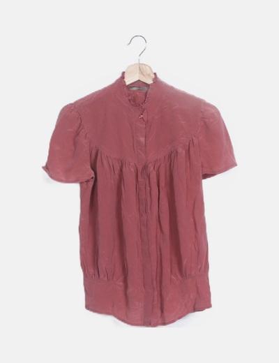 Blusa rosa crepe manga corta