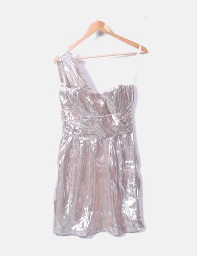 Vestido asimétrico plata irisado