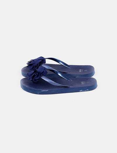 Chancla azul marina detalle flor