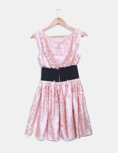 Vestido midi paillettes rosa