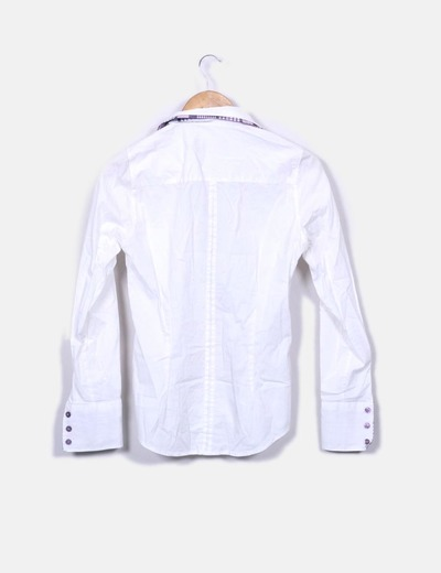 Camisa blanca combinada manga larga