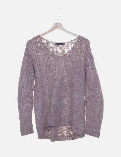 Jersey tricot marrón jaspeado